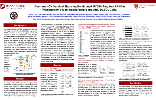 Aberrant HCK Survival Signaling By Mutated MYD88 Requires PAX5 in Waldenstrom's Macroglobulinemia and ABC DLBCL Cells